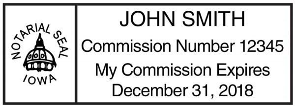 Iowa Public Notary Rectangle Stamp | STA-IA01